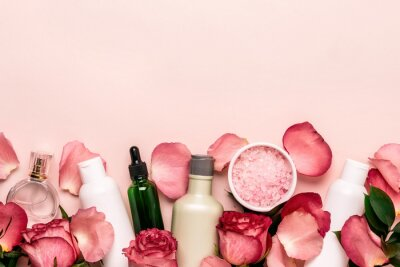 Fototapete Set of natural cosmetics from roses. Beauty and skin care concept