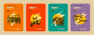 Fototapete Set of party posters in retro style. Vector illustration.
