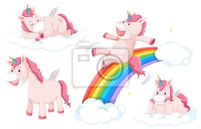 Set of pink unicorn