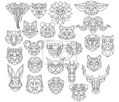 Fototapete Set of polygonal animal portraits. Collection of geometric animal heads. Black white illustration. Linear art. Tattoo.