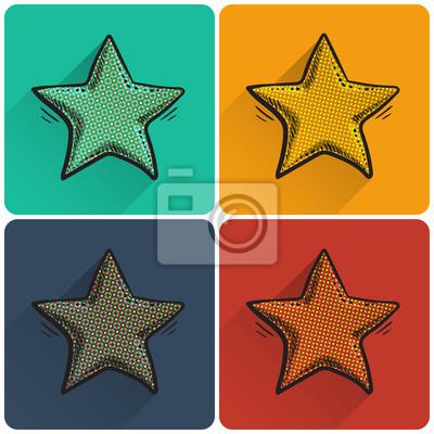 Set of pop art star icon