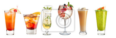 Fototapete Set of refreshing cocktails decorated with berries and fruits on a white background. Isolated.