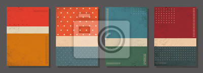 Fototapete Set of retro covers. Cover templates in vintage design. Abstract vector background template for your design. Retro design templates set  for brochures, posters, flyers, banners, covers, placards.