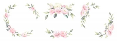 Fototapete Set of rose flower watercolor frame wreath design pink and white bouquet flower design vector.