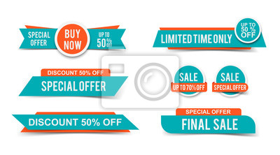 Fototapete Set of Sale tags or banners, special offer headers, discount stickers. Vector elements for website design