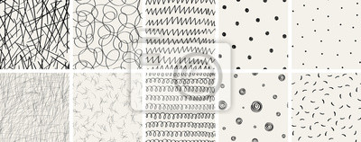 Fototapete Set of seamless abstract hand-drawn patterns. Vector modern creative backgrounds for your design