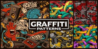 Fototapete Set of seamless patterns with graffiti art