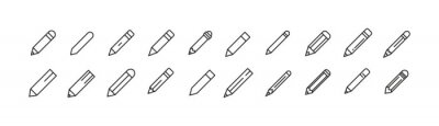 Fototapete Set of simple pencil line icons.