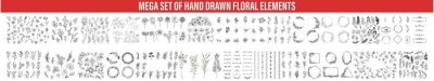 Fototapete Set of sketches and line doodles hand drawn design floral elements. Hand drawn vintage leaves, feathers, flowers, wreaths, dividers, ornaments and floral decorative elements, Hand drawn plants.