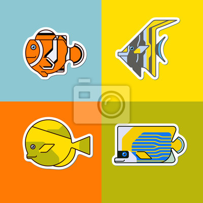 set of stylized fish bright colors