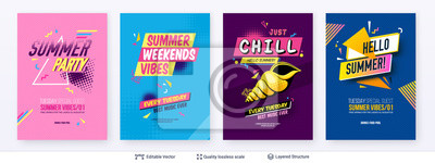 Fototapete Set of summer season ad posters in pop-art style.
