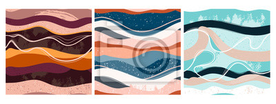 Fototapete Set of three hand drawn abstract contemporary seamless patterns. Smooth lines. Stone texture. Modern trendy colorful illustration in vector. Marbleized effect. Every pattern is isolated