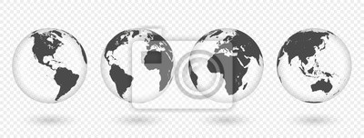 Fototapete Set of transparent globes of Earth. Realistic world map in globe shape with transparent texture and shadow
