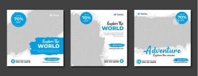 Fototapete Set of travel sale social media post template. Web banner, flyer or poster for travelling agency business offer promotion. Holiday and tour advertisement banner design.