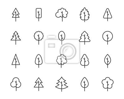 Fototapete set of tree icons, leaf, natural