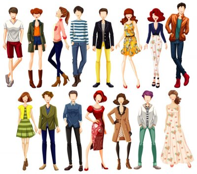 Set of urban people character