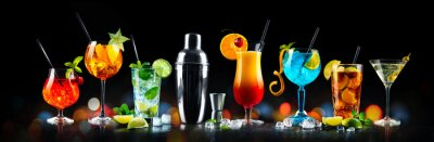 Fototapete Set of various cocktails with on black background