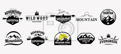 Fototapete Set of vector mountain and outdoor adventures logo designs, vintage style