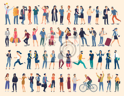 Fototapete Set of vector ready to animation people characters performing various activities. Group of men and women flat design style cartoon characters isolated on white background.