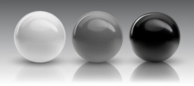 Fototapete Set of vector spheres and balls on a white background with a shadow.