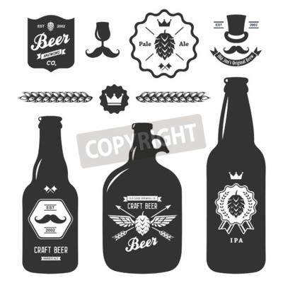 Fototapete set of vintage craft beer bottles brewery badges