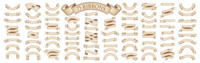 Fototapete  Set of vintage scrolls ribbons on white. old blank banners vector illustration