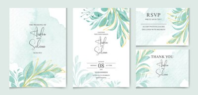 Fototapete set of watercolor wedding invitation card templates. With beautiful green leaves botanic illustration for card composition design.
