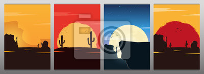 Fototapete Set of Wild West landscapes with mountains and cactus. Sunset at the Texas. Vector illustration.