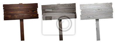 Fototapete Set of wooden signs, isolated on white background