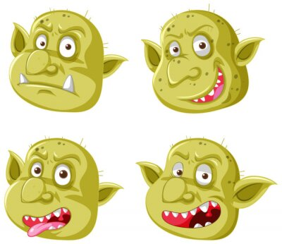 Set of yellow goblin or troll face in different expressions in cartoon style isolated