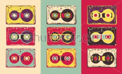 Fototapete Set Retro Audiokassetten, Pop-Art-Stil. Vektorbild
