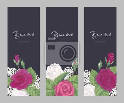 Set Romantische Vertikale Schmale Banner Zu Hochzeit Geburtstag