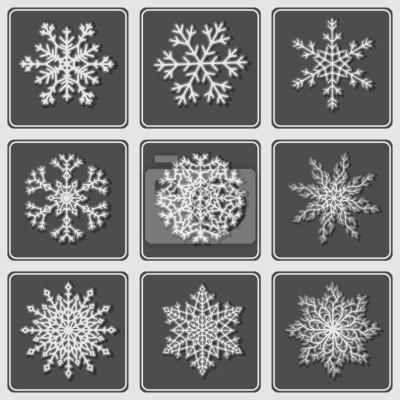 Set Schöne Papier Schneeflocken Fototapete Fototapeten Schneit