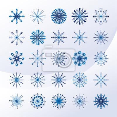 Set sky blue Schneeflocken