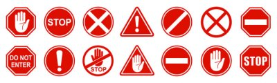 Fototapete Set stop red sign icon with white hand, do not enter. Warning stop sign - stock vector