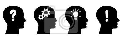 Fototapete Set: Vier Gesichter im Profil und Icons / Fragezeichen, Zahnräder, Glühlampe, Ausrufezeichen / schwarz-weiß, Vektor, freigestellt