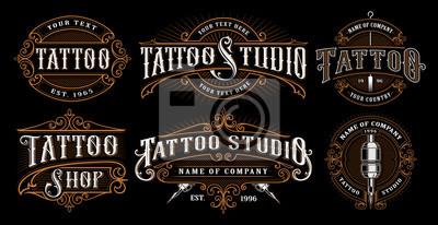 Fototapete Set Vintage Tattoo Embleme (VERSION FÜR DUNKLEN HINTERGRUND)
