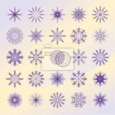 Set violett Schneeflocken