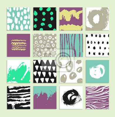 Set von 16 kreativen Karten. Handgezeichneten Texturen mit Tinte.