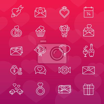Set von 16 Zeilensymbolen. Valentinstag