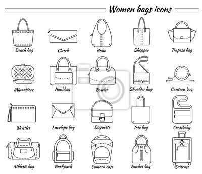 4b4445f3b723c Fototapete Set von 20 Zeilensymbolen. Verschiedene Arten von Frauen Taschen.  Strand
