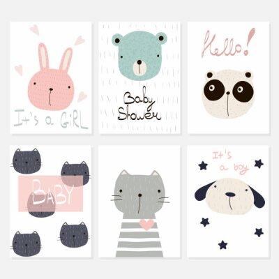 Fototapete Set von 6 Kinderkarten für Baby-Dusche oder Geburtstag. Gezeichnete Illustration des Vektors Hand.