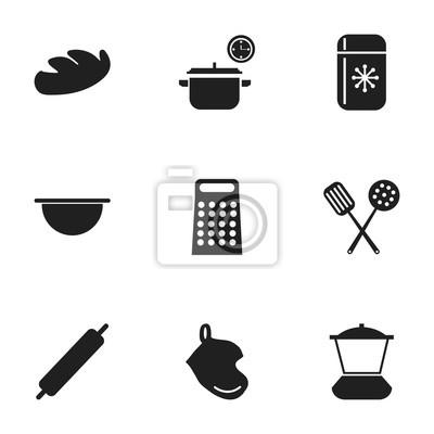 Set Von 9 Bearbeitbaren Kuchen Icons Enthalt Symbole Wie Essen