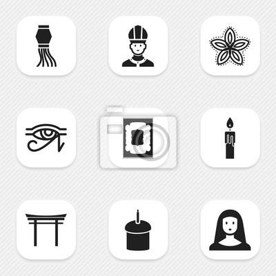 Set Von 9 Editable Dyne Icons Enthält Symbole Wie Indische Blumen