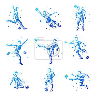 Set von abstrakten Fußballspieler. Isoliert