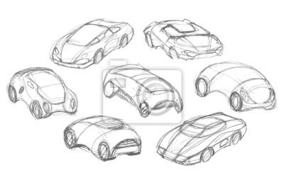 Set Von Auto Design Bleistift Fototapete Fototapeten Skizziert
