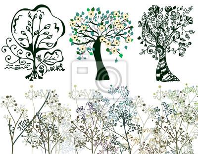 Set von Bäumen und Gras in tradistional Stil
