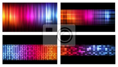 Set Von Bunten Visitenkarten Neon Hintergrund Vektor