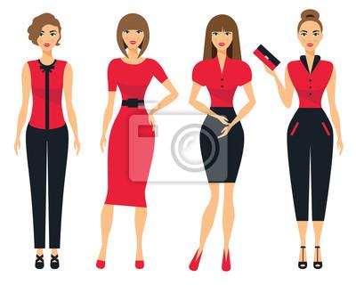 bb595c22671 Fototapete Set von Business-Kleidung für Frauen. Frau im Büro. Flache  Vektor-