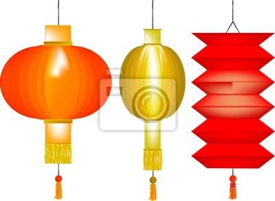 Set von drei chinesischen Lampions